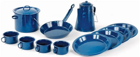 camping cookware set  piece blue enamel world famous army supply store military