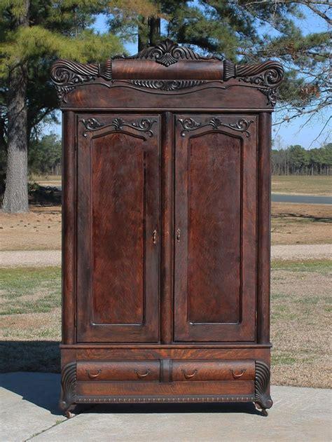 Oak Bedroom Armoire by Details About Monumental Tiger Oak Armoire