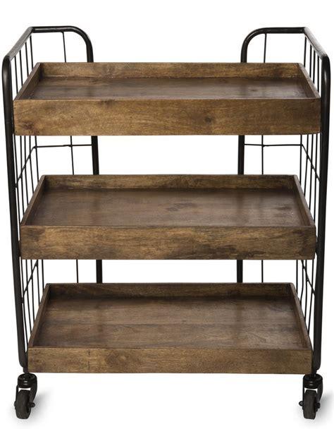 Rustic Shelves: Astoria Wood Rolling Shelf Unit, Medium