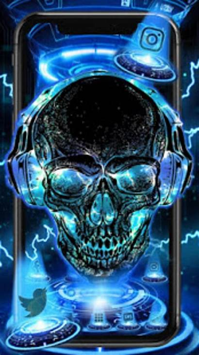 3d Neon Skull Wallpapers Tech Android Phone