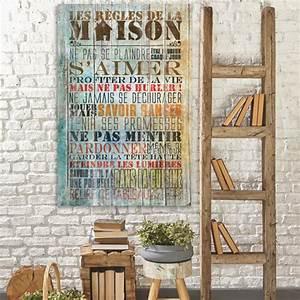 Tableau En Bois Décoration : tableau bois citation les r gles de la maison ~ Teatrodelosmanantiales.com Idées de Décoration