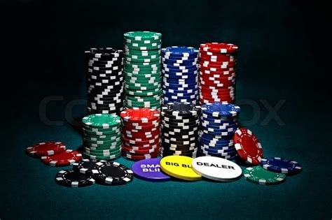 Stacks Of Chips For Poker With Buttons Of Dealer, Small