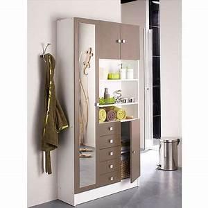 Armoire De Salle De Bain Avec Miroir : meuble salle de bain taupe achat vente meuble salle de ~ Dailycaller-alerts.com Idées de Décoration