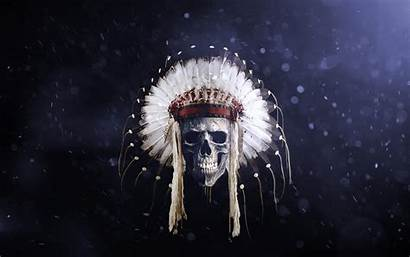 Skull American Indian Native 4k Feathers Wallpapers