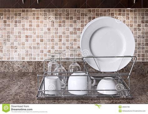dish rack  kitchen countertop royalty  stock image image