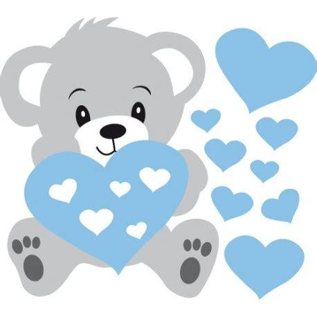 chambre petit garcon stickers nounours gris et coeurs bleus pour bébé garçon
