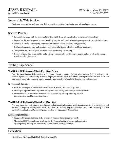 Server Skills For Resume by Sle Waitress Resume Exles Resumes Sle Resume