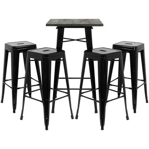square counter stools hartleys black square wood top bistro table 4 metal 2439
