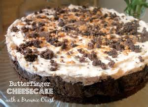 Butterfinger Cheesecake with Brownie Crust