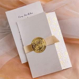 elegant gold embossed floral art deco tri fold wedding With fancy folded wedding invitations