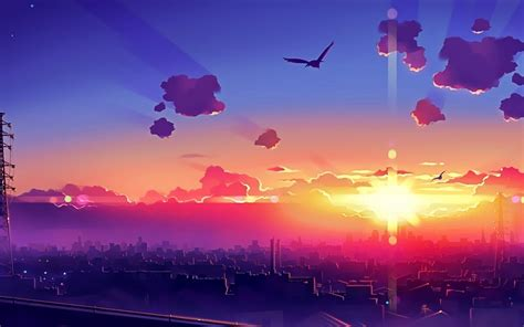anime city sunset wallpaper