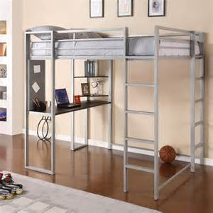 Abode Metal Full Loft Bed in Silver with Desk   5457096