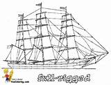 Coloring Ships Tall Ocean Rigged Ship Boat Sky Vessels Colouring Boats Sailing Yescoloring Boys Hard Sheets Anycoloring sketch template