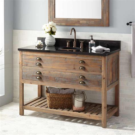 benoist reclaimed wood console vanity  undermount