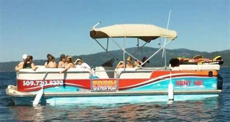 Side Boat Rentals by Coeur D Alene Boat Rental Pontoon Boat Side View