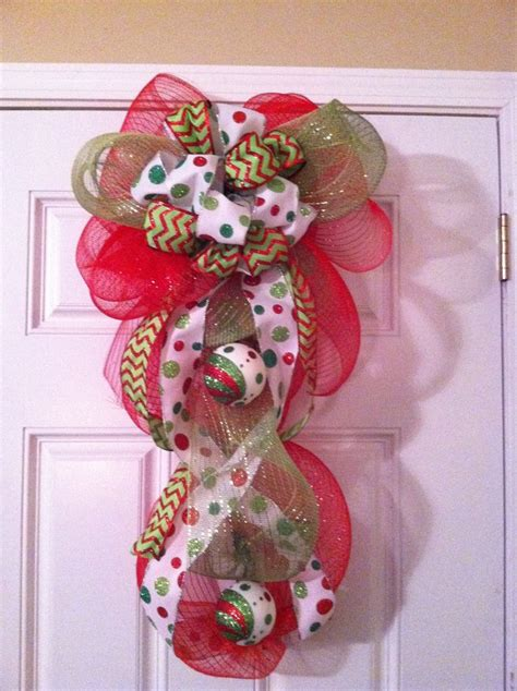 deco mesh christmas door decor christmas pinterest