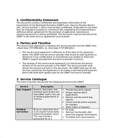service level agreement    word psd