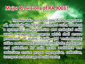 Ecological Solid Waste Management Act Of 2000 Ra 9003