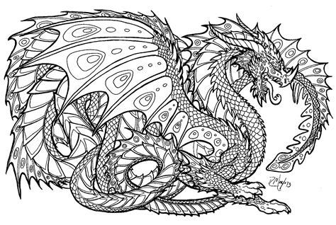 Intricate Dragon Coloring Pages Download Coloring For