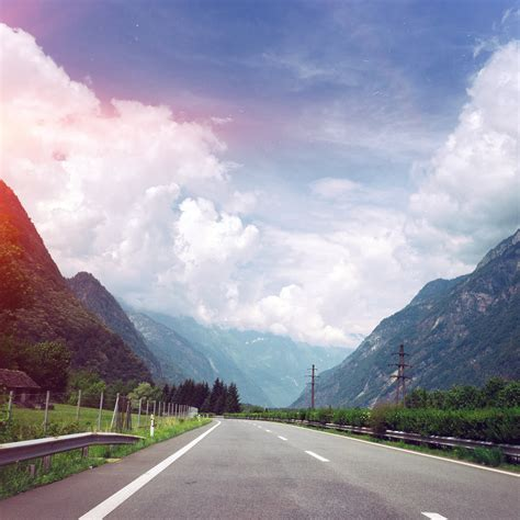ms clouds mountain road sunny nature flare blue wallpaper