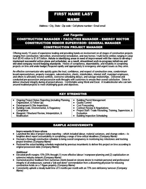 building construction management resume