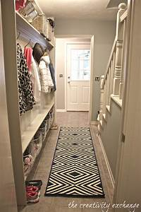 Narrow hallway built in diy mudroom