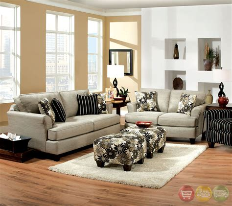 Livingroom Sets by Cardiff Contemporary Light Gray And Floral Fabric Living