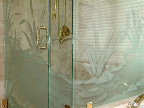 flwg strm glass shower doors etched glass rustic decor