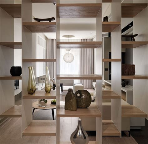 modern living room shelves multi level contemporary apartment