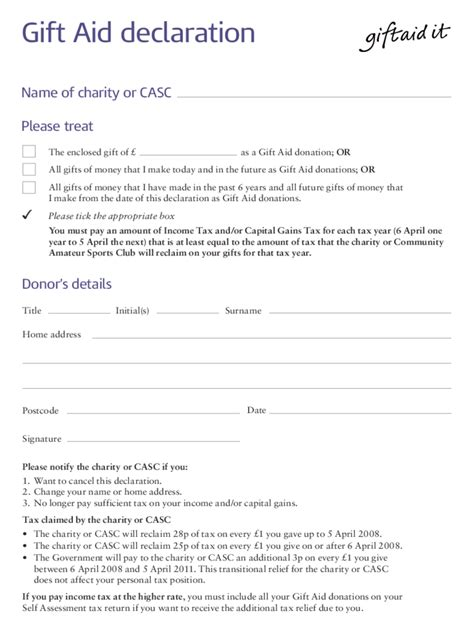 gift aid declaration form   templates   word