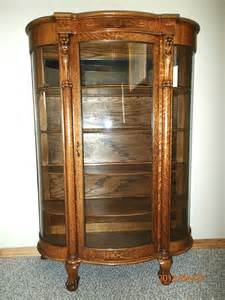 antique tiger oak bowed glass curio china cabinet c 1900