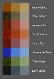 Colour Mixing Chart For Artists Old Master Palette With Lots Of Warm Earth Tones And