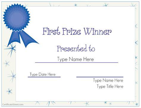 Winner Certificate Template Blank Certificates Prize Winner Certificate