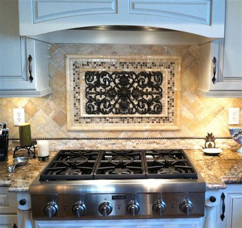 kitchen backsplash mosaic  metal accent mural
