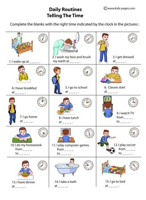daily routines   time worksheet daily routine