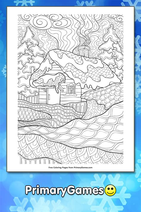 zentangle winter cabin coloring page printable winter coloring  primarygames