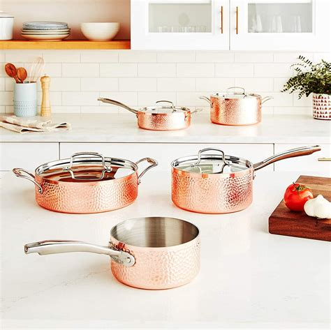 cuisinart hammered collection cookware set copper