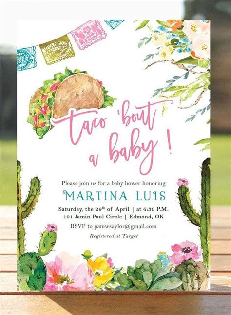 taco bout  baby fiesta baby shower invitation baby