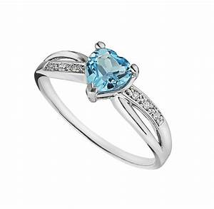 9ct white gold heart-shaped blue topaz and diamond ring