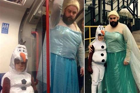 britains  dad bearded man dressed  frozen princess