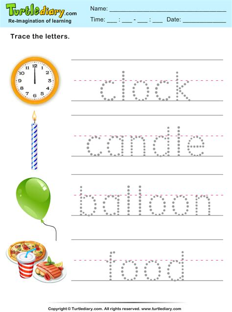 tracing words clock candle worksheet turtle diary