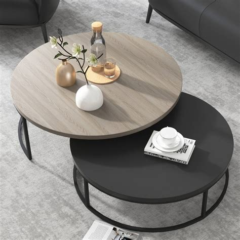 modern  nesting coffee table  piece extendable gray