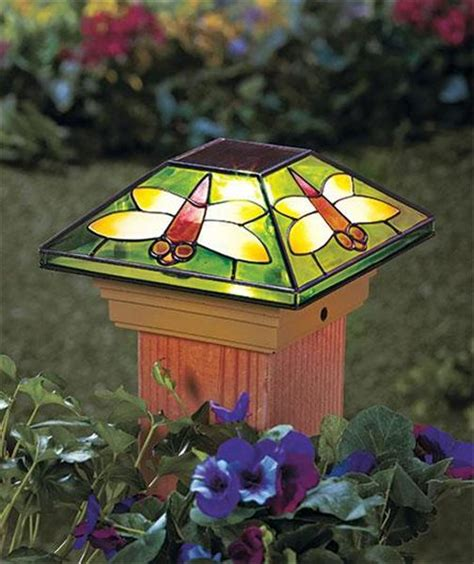 solar fence post cap deck porch light w stained glass look
