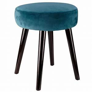 Tabouret Bleu Canard : tabouret en velours bleu canard ma chambre cosy ~ Teatrodelosmanantiales.com Idées de Décoration