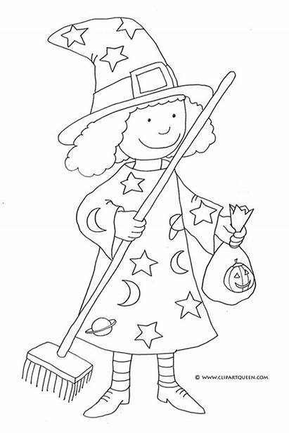 Coloring Halloween Pages Witch Broom Clip Drawings