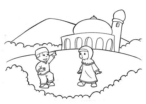 mewarnai gambar masjid untuk anak paud dan tk mewarnai