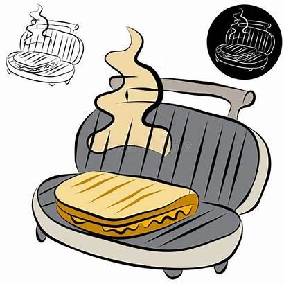 Sandwich Panini Press Maker Drawing Line Clip