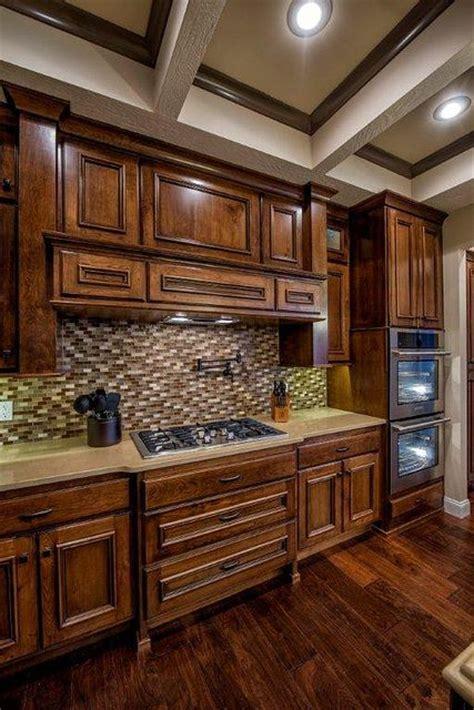 Kitchen; knotty cherry cabinets; glass tile; quartz