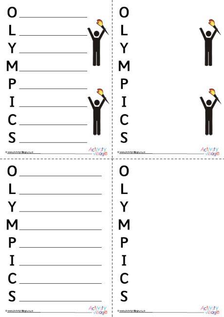 olympics acrostic poem printables
