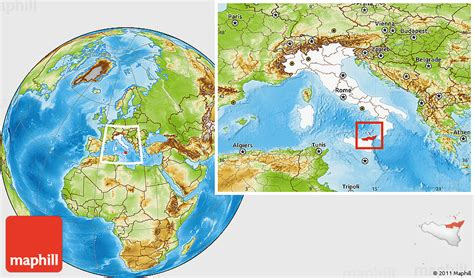physical location map  messina highlighted country